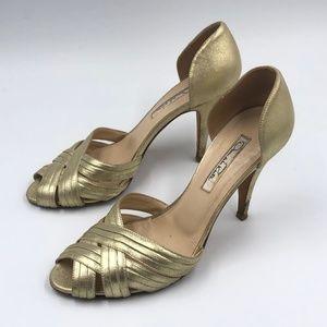 Shoes - Oscar De La Renta Vero Cuoio Gold Woven Heels 37.5